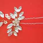 Crystal Hair Pins. Handmade Pearl Bridal Headdress (3 pieces)