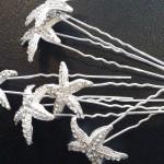 StarFish Rhinestone Wedding Hair Pins 6 Pcs
