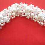 Bridal Hair Crystal White Flower Head. Pearl Crown.